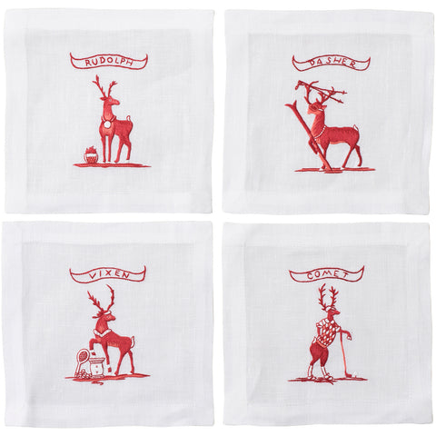 Country Estate Reindeer Games Solo Sports Cocktail Coasters Set/4 (Golf, Tennis, Skiing and Rudolph)