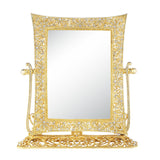 Olivia Riegel Gold Windsor Magnified Standing Mirror Dalmazio Design