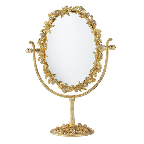 Gold Cornelia Oval Magnified Standing Mirror