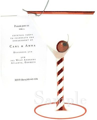 Holiday Martini w/ Silver Cord Personalized Holiday Card/ Invitation (Set of 50)