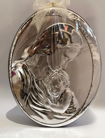 Mother and Child W/ Italian 925 Argenti Silver Plaque