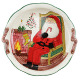 Old St. Nick Handled Scallop Large Bowl w/ Fireplace