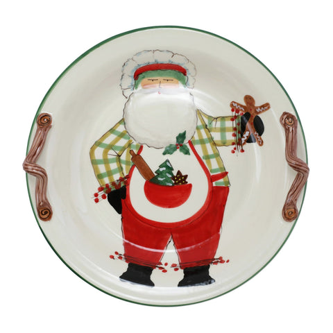 Old St. Nick Handled Round Shallow Bowl