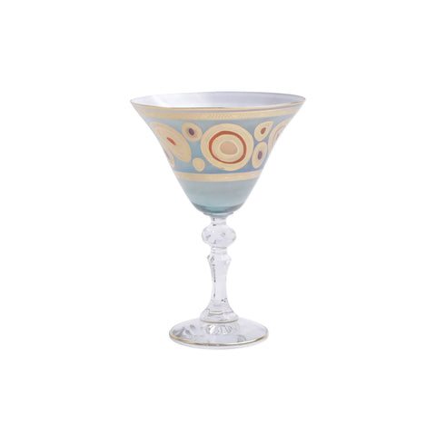 Vietri Regalia Aqua Martini Glass Dalmazio Design