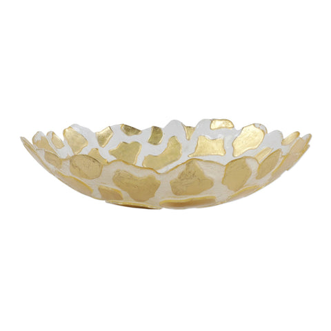 Rufolo Glass Gold Giraffe Medium Shallow Bowl