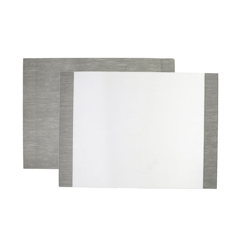 Reversible Placemats White/Gray Edged Rectangular Placemat