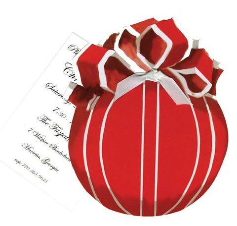 Red Ornament with Bow w/ White Ribbon Personalized Holiday Card/ Invitation (Set of 50)