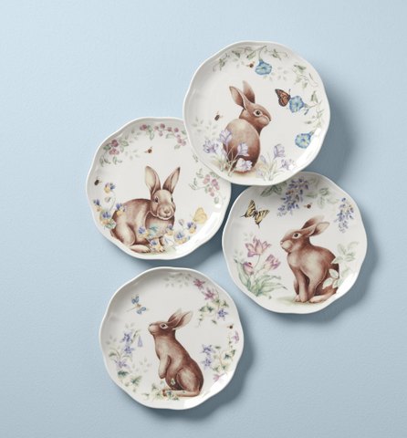 Butterfly Meadow Bunny 4-Piece Accent Plate Set