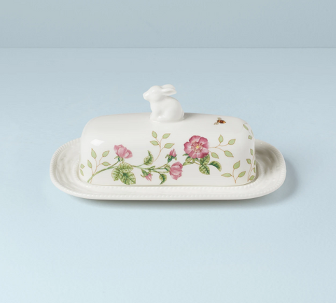 Butterfly Meadow Bunny Covered Butter Dish