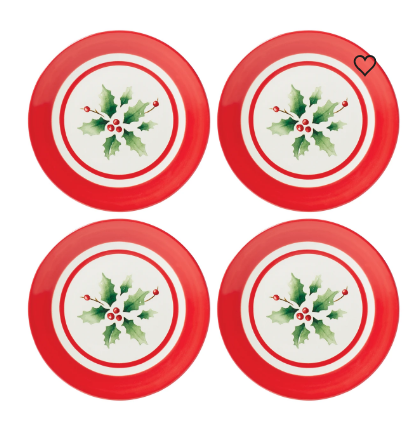 Lenox Holiday Stripe 4-Piece Dessert Plate Set Dalmazio Design