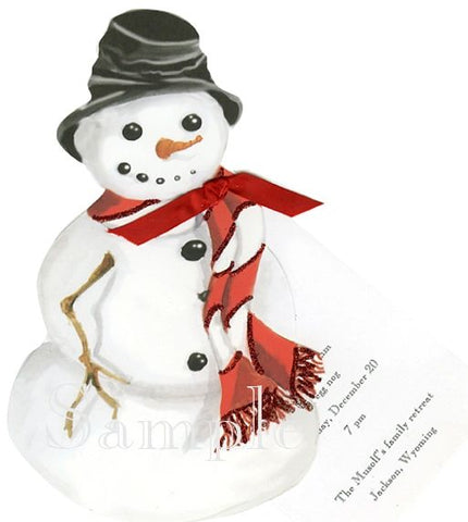 Snowman w/ Red & White Scarf Personalized Holiday Card/ Invitation (Set of 50)