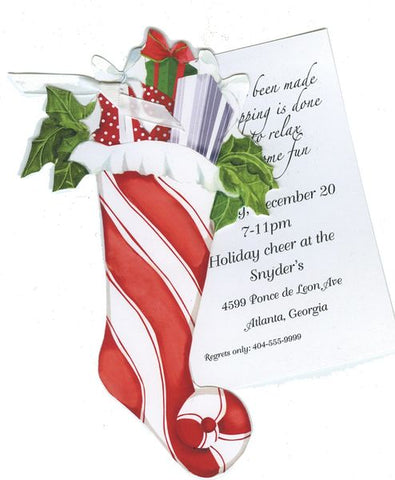 Holiday Stocking Personalized Holiday Card/ Invitation (Set of 50)