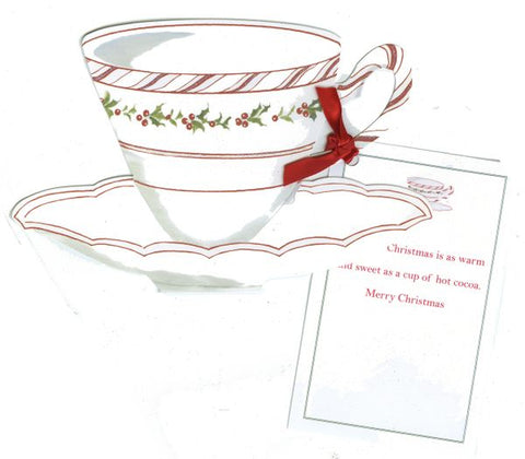 Christmas Tea w/ Red Ribbon Personalized Holiday Card/ Invitation (Set of 50)
