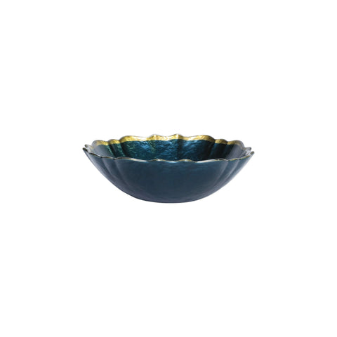Baroque Glass Teal Small Bowl