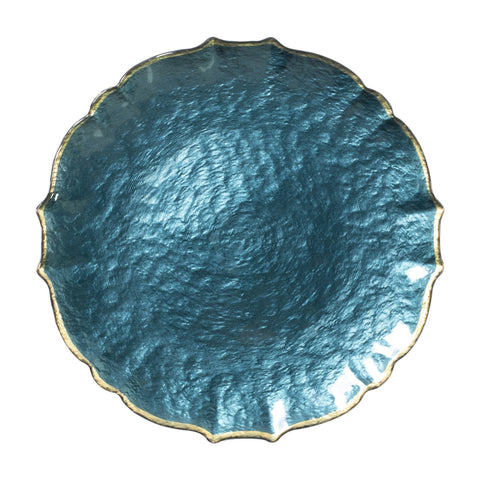 Vietri Baroque Glass Teal Service Plate/Charger Dalmazio Design