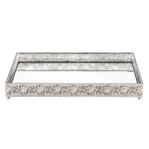 Silver Large Windsor Beveled Mirror Tray