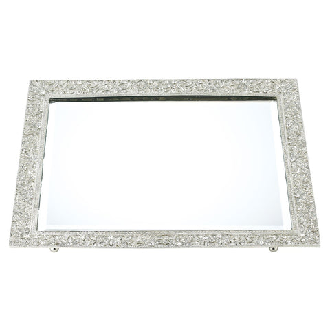 Silver Windsor Beveled Mirror Tray