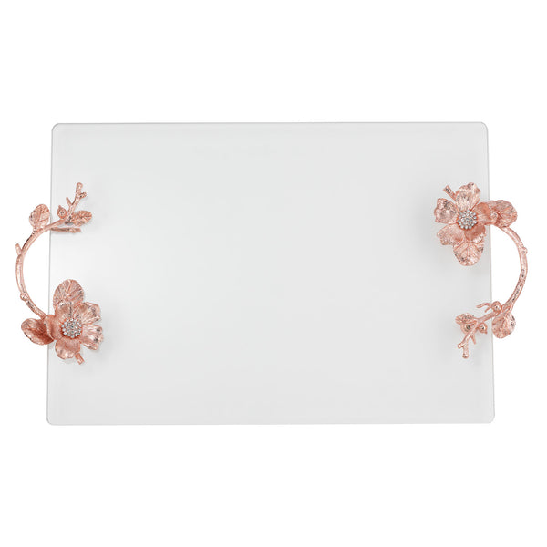 Rose Gold Botanica Glass Tray