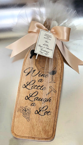 "Gift Favor - Vintage Cheese Board W/ Spreading Knife ""Wine A Little Laugh A Lot"""