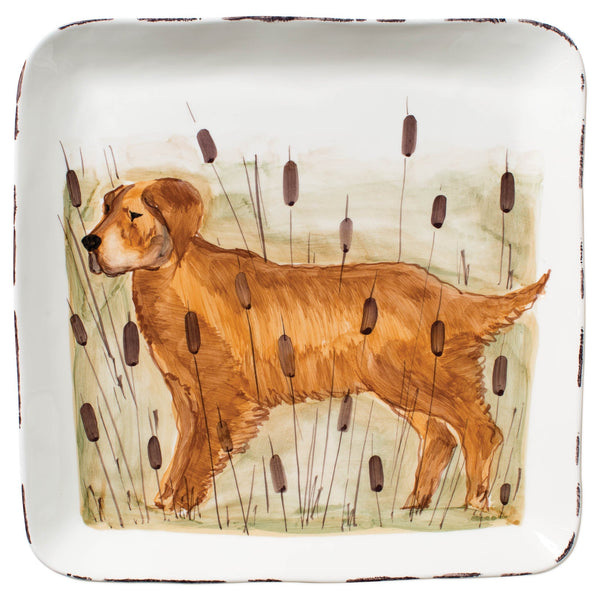 Vietri Wildlife Hunting Dog Large Square Platter Dalmazio Design