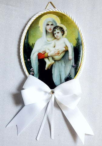 Keepsake Porcelain Plaque - Madonna and Child White Capezzale