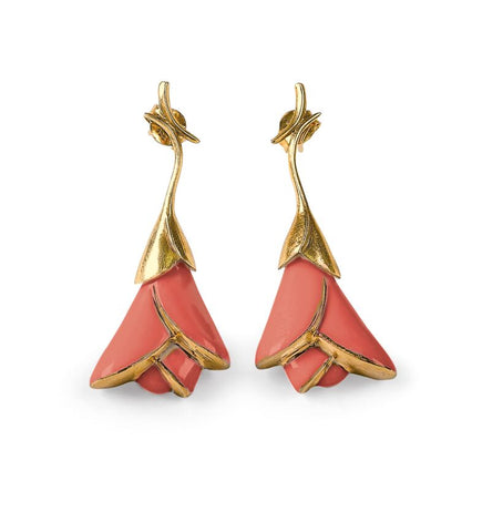 Heliconia short earrings. Coral