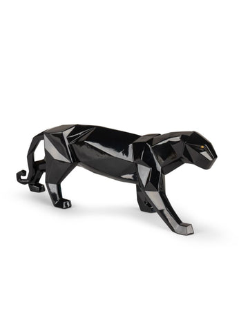 Panther Figurine. Glazed Black