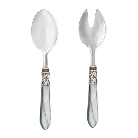 Vietri Aladdin Antique Light Gray Salad Server Set Dalmazio Design
