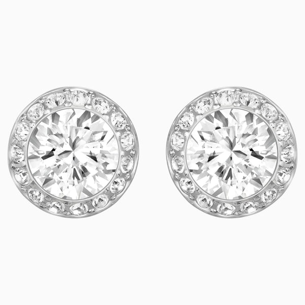 Swarovski Angelic Pierced Earrings; White; Rhodium Plated Dalmazio Design
