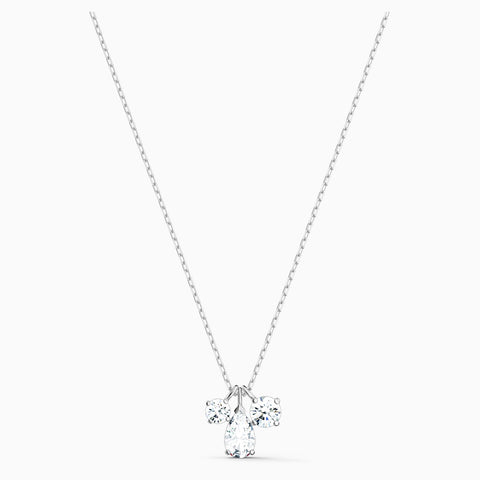 Dalmazio Design - Swarovski Attract Cluster Pendant, White, Rhodium Plated