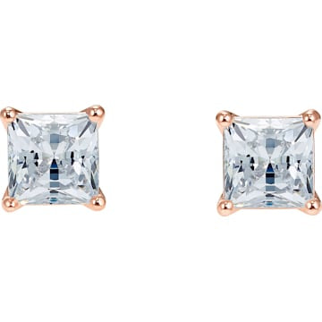 Swarovski Attract Pierced Earrings, White, Rose-gold tone plated - Dalmazio Design
