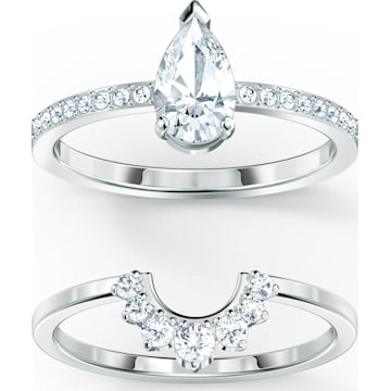 Swarovski Attract  Pear Ring Set, White, Rhodium plated - Dalmazio Design