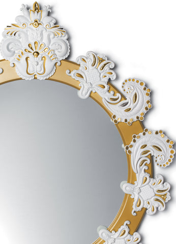 Round Wall Mirror. Golden Lustre and White. Limited Edition