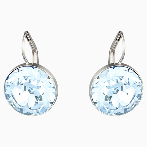 Swarovski Bella Pierced Earrings; Blue; Rhodium Plated Dalmazio Design