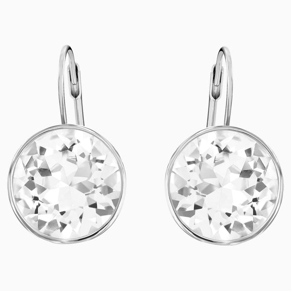 Swarovski Bella Pierced Earrings; White; Rhodium Plated Dalmazio Design
