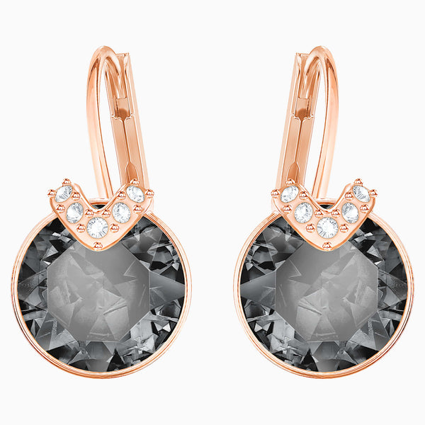 Swarovski Bella V Pierced Earrings; Gray; Rose-Gold Tone Plated Dalmazio Design