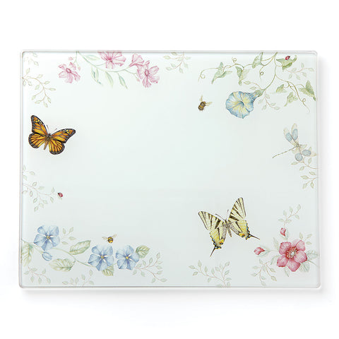 Lenox Butterfly Meadow® Large Glass Cutting Board Dalmazio Design