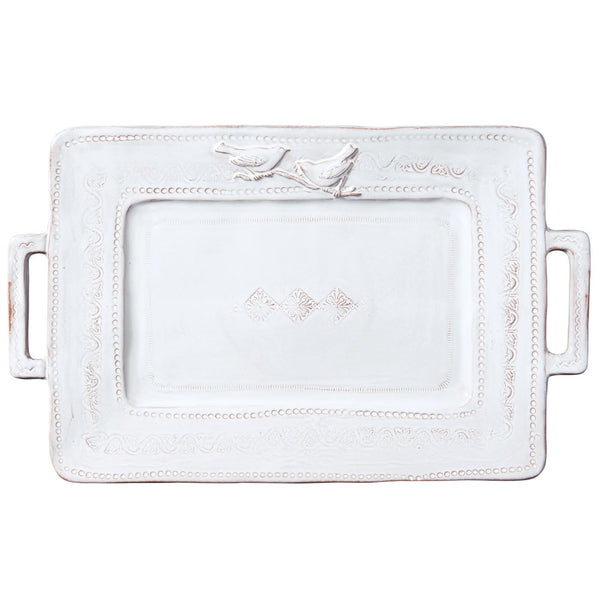 Vietri Bellezza White Handled Rectangular Platter Dalmazio Design