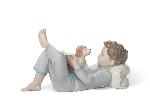 Lladro Shall I Read You A Story? Boy Figurine - Dalmazio Design