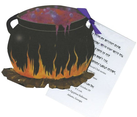 Witches Cauldron w/ Purple Ribbon Personalized Holiday Card/ Invitation (Set of 50)