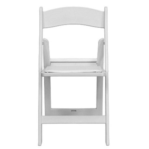 White Resin Folding Chair With Padded Seat Rental