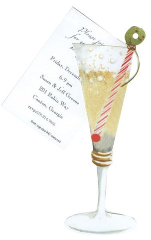 Holiday Champagne w/ Glitter Personalized Holiday Card/ Invitation (Set of 50)