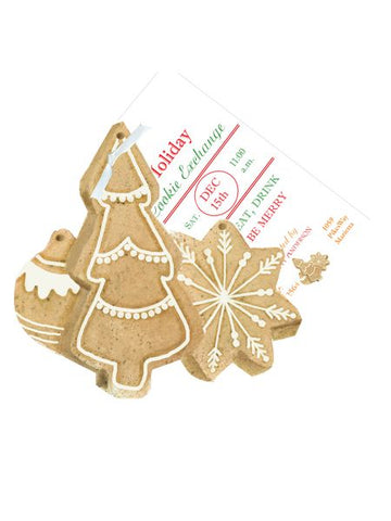 Christmas Cookies w/ Glitter 3D Holiday Card/ Invitations (Set of 50)