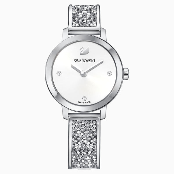Swarovski Cosmic Rock Watch; Metal Bracelet; White; Stainless Steel Dalmazio Design