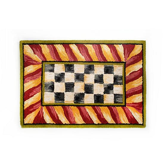 Courtly Check Rug - 2' x 3' - Red & Gold