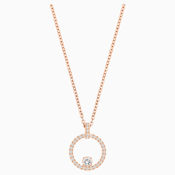 Swarovski Creativity Circle Pendant; White; Rose-Gold Tone Plated Dalmazio Design