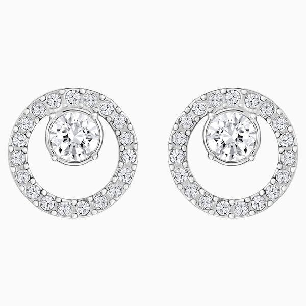 Swarovski Creativity Circle Pierced Earrings; White; Rhodium Plated Dalmazio Design