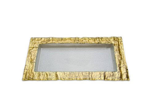 Medium Rectangular Glass Tray with Gold Embossed Border