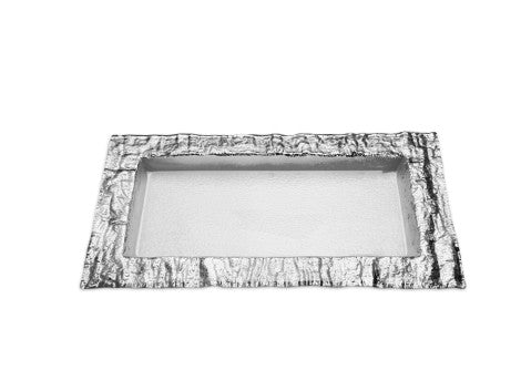 Medium Rectangular Glass Tray with Silver Embossed Border