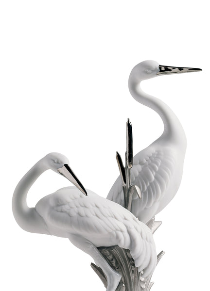 Courting Cranes Sculpture. Silver Lustre